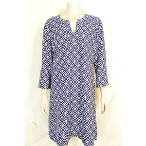 Jude Connally dress L? blue & white geometric patt